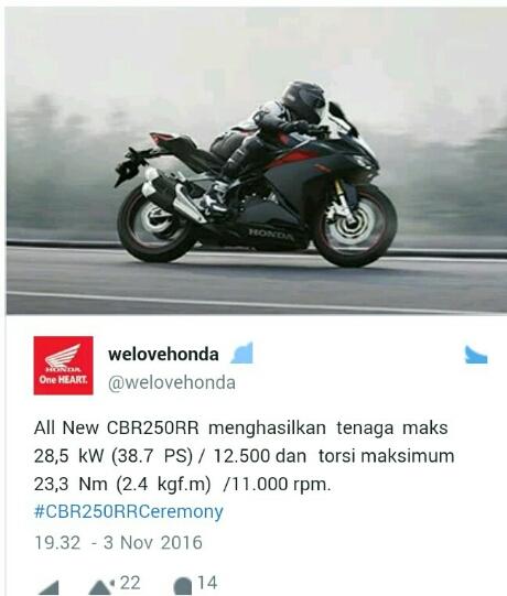 Lonjakan power CBR250RR seperti info yang dishare twitter Welovehonda
